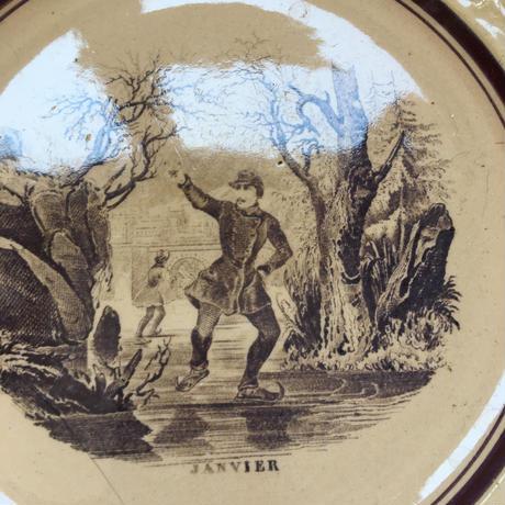 19世紀 リュネヴィル おしゃべりなお皿 12ヶ月 デザートプレート 1−12
