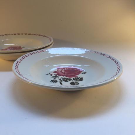 1920年代 バドンヴィレー スープ・プレート 薔薇柄 ルージュ1−3