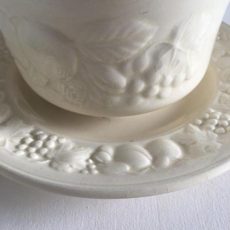 1940年代 イギリス製 パリッシー窯 ココア・ボウル フルーツレリーフ クリーム色