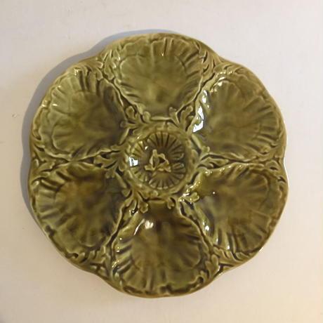 1970年代 ジアン オイスター・プレート カーキ色 オリーブ・グリーン