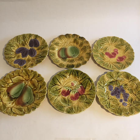 1920年代 サルグミンヌ  デザート・プレート バルボティーヌ フルーツ柄 6枚セット