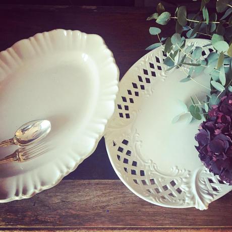 19世紀 イタリア製 レース・プレート 楕円形大皿 白陶器