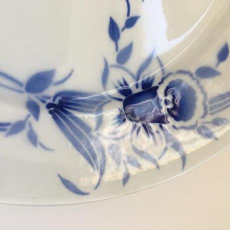 20世紀前半 サンタマン プレート 大皿 ポショワー 水仙柄 ブルー