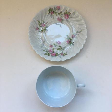 1960年代 リモージュ カップ&ソーサー ピンクの薔薇柄