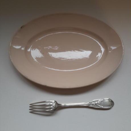 1920年代 ディゴワン サルグミンヌ オーヴァル・プレート  楕円形大皿 アンティーク・ピンク