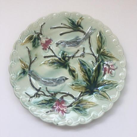 19世紀後半 サルグミンヌ? バルボティーヌ デザート・プレート 小鳥