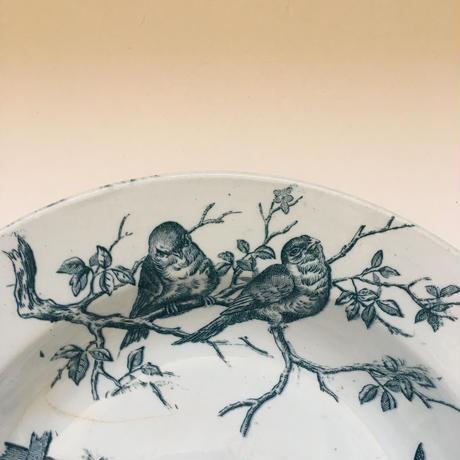 19世紀後半 サンタマン オワゾー プレート 大皿 小鳥柄