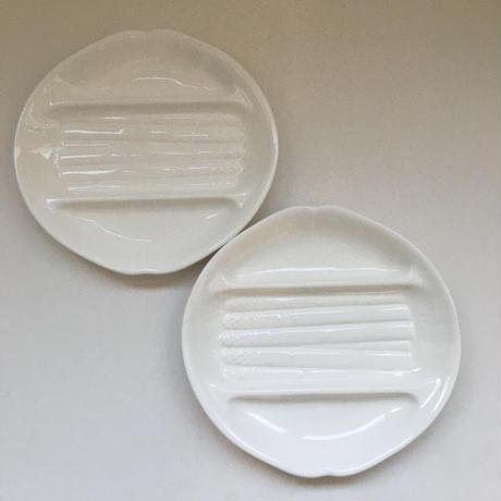 1950年代 サラン ポンパドール アシエット・ア・アスペルジュ アスパラガス・プレート 白陶器 1-2