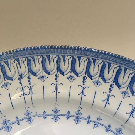 19世紀後半 クレイユ・エ・モントロー フローラ・ロカイユ 大皿 34cm