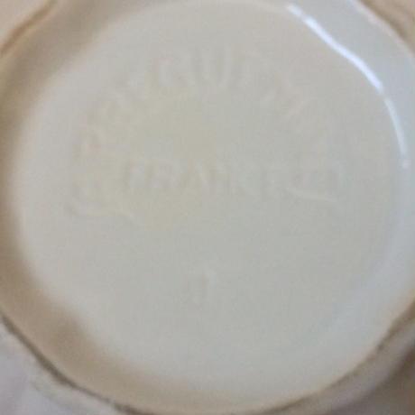 1970年代 サルグミンヌ ボンボニエール キャンディーポット 花リム クリーム色