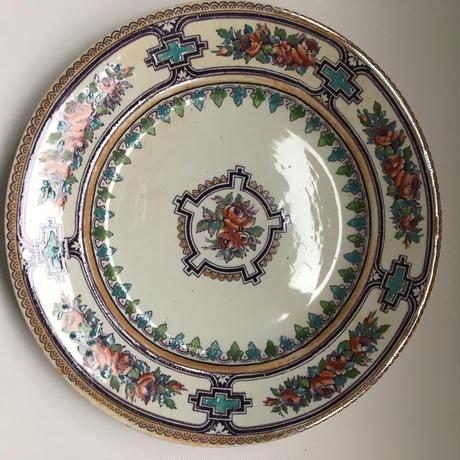 19世紀 グラン・デポ エミール・ブルジョワ ディナー・プレート 薔薇柄 1-2