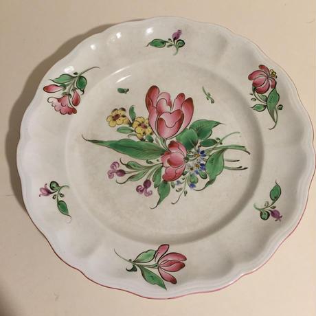 19世紀後半 リュネヴィル ケーキ・プレート 脚付 チャイナ 花柄