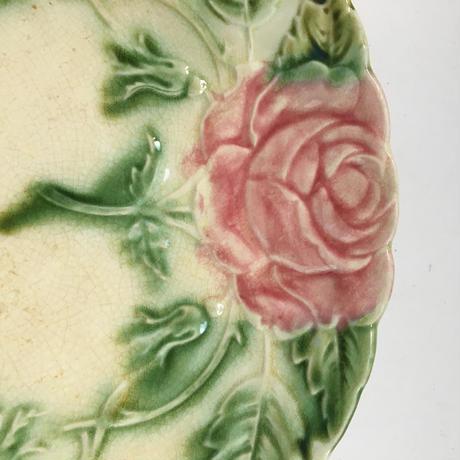 19世紀 デザート・プレート バルボティーヌ 薔薇柄 1-2