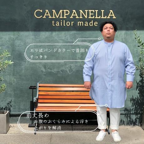 たろlong shirt(タロ ロング シャツ)サックス ストライプ TLS-006