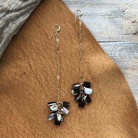 Square Shell Long Chain Pierced Earring スクエアシェル 14kgfロングチェーンピアス