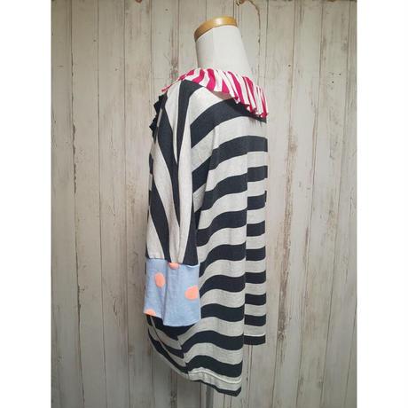 MORIyumi.首フリルワイドTシャツ(ボーダー×ドット).1630
