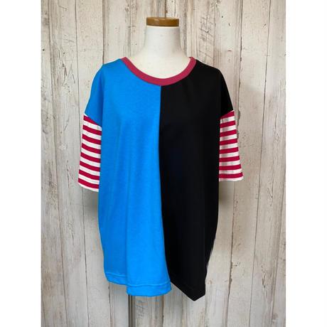 MORIyumi.切替ワイドTシャツ(ブルー×ブラック).1595