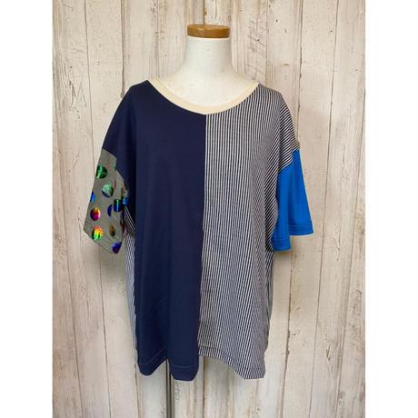 MORIyumi.切替ワイドTシャツ(レインボードット×ブルー).1596