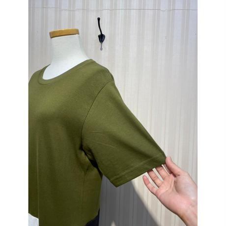 MORIyumi.Tシャツリメイクワンピース(深緑×紺、白、黒).O0564