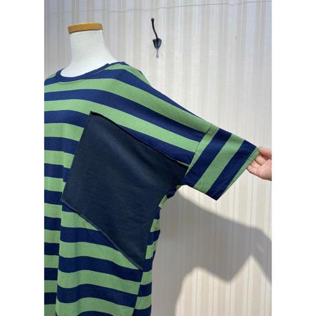 ボーダードルマンTシャツ(カーキ).O0594