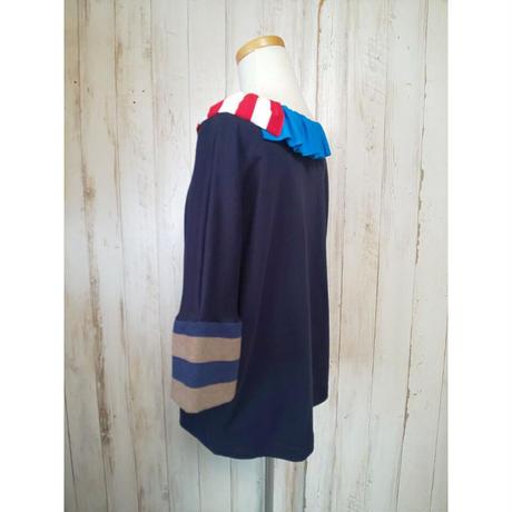 MORIyumi.首フリルワイドTシャツ(ネイビー×袖ボーダー).1579