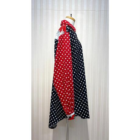 MORIyumi. ワイドチュニックシャツ.(赤黒ドット柄).O0677