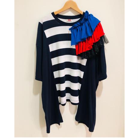 MORI yumi肩フリルTシャツ.P083