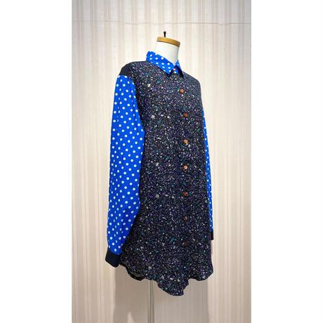 MORIyumi.ワイドチュニックシャツ(青ドット×黒ミックスカラー).O0679