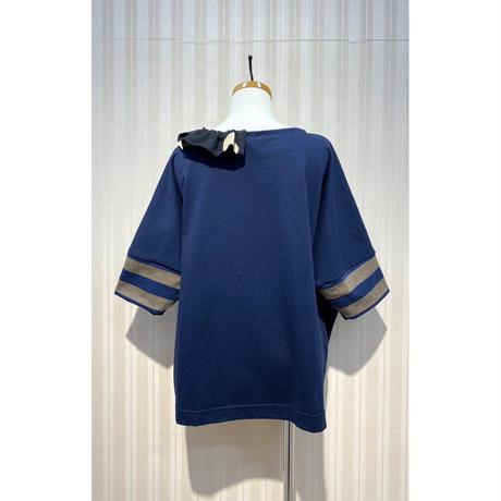 MORIyumi.首フリルワイドTシャツ(黄ボーダー×黒ドット).O0597