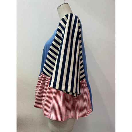 MORIyumi.サイドギャザートップス (ブルーサブマリン×紺色ボーダー).P978