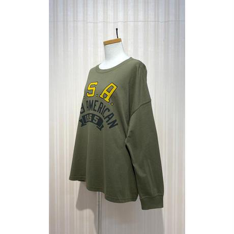 LIME.USAプリントロングTシャツ(カーキ).O0692