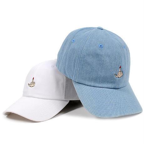 7UN443 7UNION セブンユニオンファックサイン ベントブリム ローキャップ ブルー、ホワイト FXXKSIGN BENT BRIM LO CAP BLUE、WHITE 7UB-727
