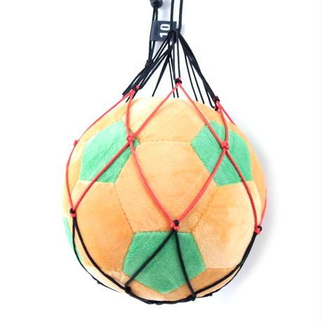 【幼児・低学年向け】リフティングが上手くなるボールネット(ブラック×オレンジレッド)と ふわふわサッカーボールクッションのセット