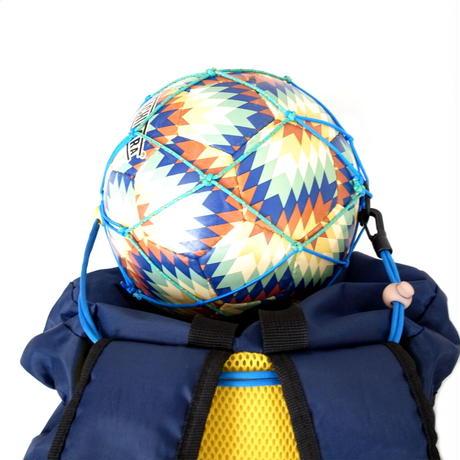【リュックに付けるボールホルダー】カピタン スリムフィット ボールネット コンビ リフレクト<フック付き>(マリンブルー×エメラルドグリーン)