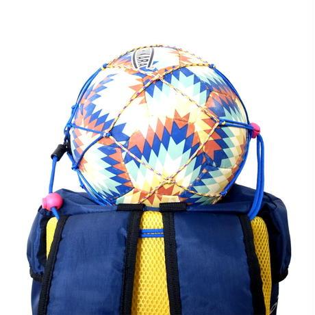 【リュックに付けるボールホルダー】カピタン スリムフィット ボールネット コンビ<フック付き>(ブルー×イエローミックス)