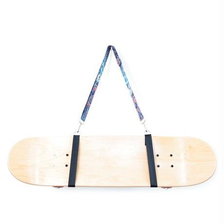 【スケボー用ショルダーストラップ】斜め掛けできるスケートボードホルダー(ブルーペーズリー)