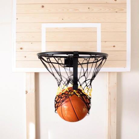 【フリースローが上手くなるリングネット】バスケット ゴールリングネット コンビ(ブラック×イエロー)