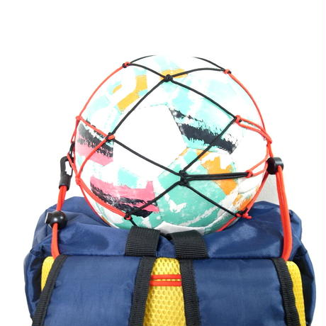 【リュックに付けるボールホルダー】カピタン スリムフィット ボールネット コンビ<フック付き>(ファイヤーレッド×ブラック)
