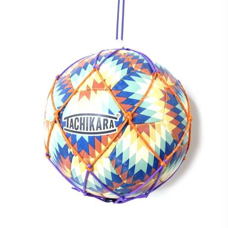【リュックに付けるボールホルダー】カピタン スリムフィット ボールネット コンビ リフレクト<フック付き>(パープル×オレンジ)