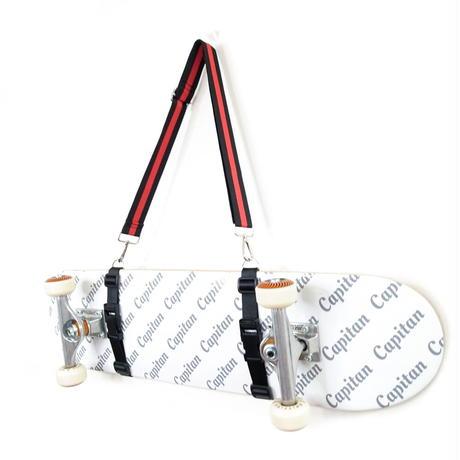 【スケボー用ショルダーストラップ】斜め掛けできるスケートボードホルダー(ブラック×レッドストライプ)