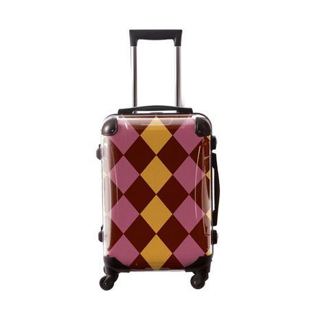 アートスーツケース #CRA01H-037K|ダイヤモンドチェック(ブラウン×ゴールド×ピンク)