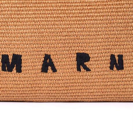 マルニ Marni ビックサイズフリンジバッグ ラフィア ブラウン
