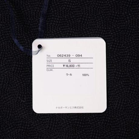 プラスプラス +2 丸襟長袖セーター ハイゲージウール ネイビー
