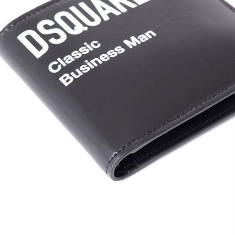 ディースクエアード Dsquared2 ブランドロゴ入り2つ折り財布 Classic Business Man 牛革 ブラック