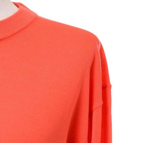 プラスプラス +2 ハイゲージラウンドネックセーター ヨコアンティオリジナル オレンジレッド