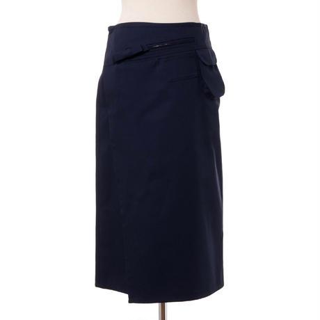 ラフシモンズ RAF SIMONS ポケット付き巻きスカート コットン混合 ネイビー