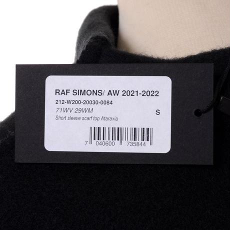 ラフシモンズ RAF SIMONS 半袖ワイドAライントップス 圧縮ウール ブラック