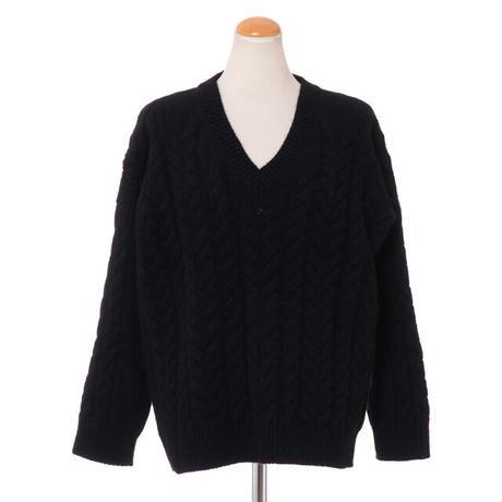 クイーンアンドベル queene and belle Vネックアラン編みセーター カシミア ブラック