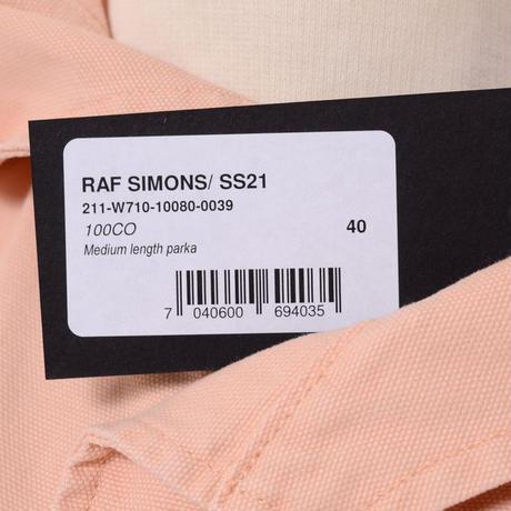 ラフシモンズ RAF SIMONS ミディアムレングスパーカ・モッズコート コットン サーモンピンク