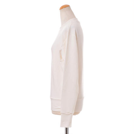 プラスプラス +2 長袖スウエット コットン混合ストレッチ ホワイト